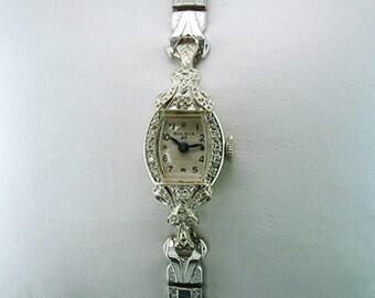 Vintage Antique Art Deco Bulova Diamond 14K Ladies Wrist Watch