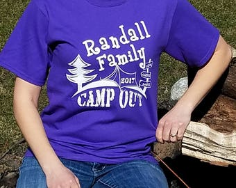 Personalized Family Camping Shirts - Screen Printed With Family Name - Any Size Order Welcome