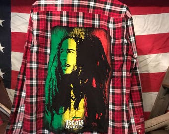 Bob Marley Upcycled Dress Shirt