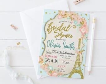 Paris Bridal Shower Invitation / Digital Printable Birthday Invite for Wedding / DIY Eiffel Tower Party