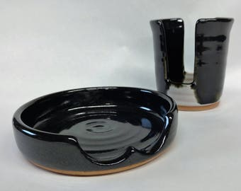 Ready To Ship  Spoon rest and sponge holder set