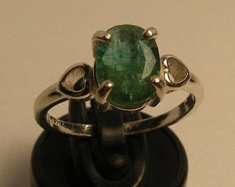 Natural emerald 1.44 ct & sterling silver 925 ring size 7