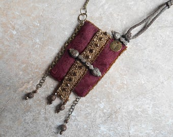 Textile necklace and beads - Boho necklace - red and Bronze - necklace doors of the wind