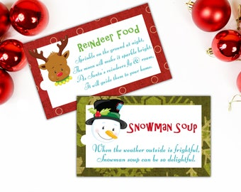 Reindeer food tags, Snowman Soup tags, Christmas gift tags, Magic food, Christmas Eve box treats, Santa food, Stocking Stuffer.