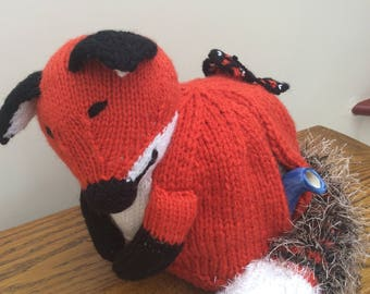 Foxy Tea Cosy, Cozy Lovely Red Fox Asleep with a Butterfly on his Back