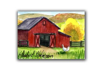 Red Barn Hen Chicken Farm  llmartin Original ACEO Father Nursery, New Mom, Toddler Miniature Watercolor Free Shipping USA Child Children