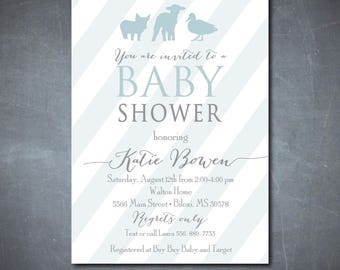 Farm Animal Baby Shower Invitation, simple, printable/farm, baby boy shower, blue, gray/Digital File/wording and colors can be changed