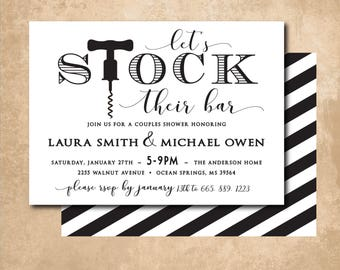 Stock the Bar Invitation printable/Digital File/couples shower, wedding shower, simple. black and white/Wording & Ink colors can be changed