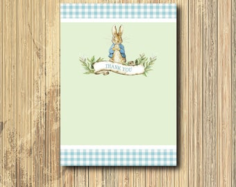 Peter Rabbit Thank you Note printable/Digital File/Vintage Peter Rabbit note, Beatrix Potter, baby shower, boy/4x6 Note/Size can be changed