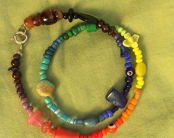 Rainbow pride handmade beaded bracelet