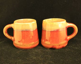 Vintage Pair of Rustic Primitive Heavy Ceramic Stoneware Mugs