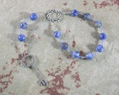 Frigga  Pocket Prayer Beads in Blue Agate:  Norse Goddess of Wisdom, Seership, Weaving and Fibercraft, Home Management and Business
