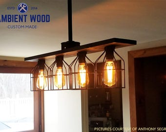 Pipe/Ceiling installation Cage chandelier light vintage Industrial, Antique Edison Bulb, Rustic Lamp, Rustic Lighting