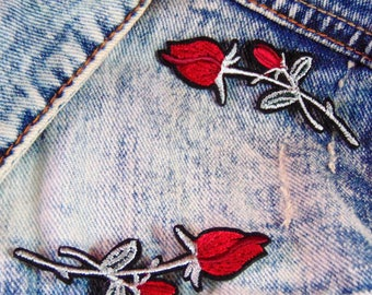 Red Rose Patch Set x 2 Sew Iron on Embroidered Tulip Colourful Cotton Flower Applique for Custom Jacket and Clothing Fabric Hot Fix Badge UK