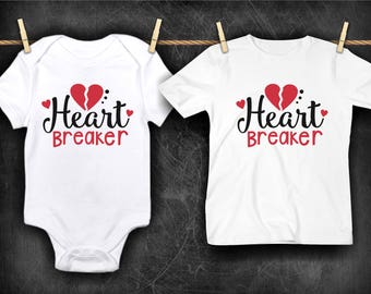 Heart Breaker Funny  Bodysuit or T-Shirt for Baby Toddler Kid Newborn Babies Shower Coming Home Gift Idea Creeper Present Cute Day Boy's