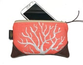 Mini Salmon Coral Zipper Pouch / Mini Clutch with inside lining and Zipper Pull or Leather Wristlet Strap