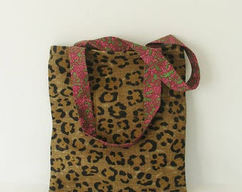 Tote Bag leopard and vintage green and Red/pink liberty