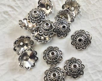 Set of 30 cups / round caps cone filigree Tibetan style, ornate flowers 14mm antique silver metal