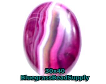 Banded Dream Agate Oval Cabochon Gemstone Focal Bead 40mm x 30mm x 6mm c8008