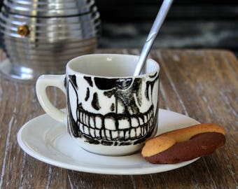 Skull skeleton porcelain - coffee mug, cup tea