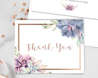 Succulent Thank You Card / Purple Succulent and Rose Gold Geometric / Cactus and Copper Calligraphy ▷ Printed Heavy Paper {or} Printable