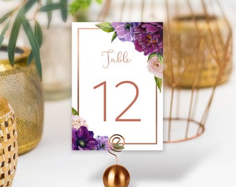 Purple Table Numbers / Wedding Table / Purple Flowers, Anemone, Peony, Ranunculus, Rose Gold Wedding ▷ PRINTED Table Numbers, Double-Sided