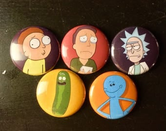 Rick and Morty Buttons Set