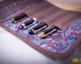 Leather pen roll, leather pen storage, leather pen holder, fountain pen roll, pen case, pen organizer, leather pencil case, pencil roll case