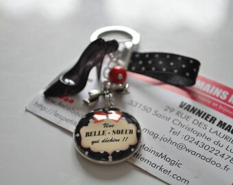 """keychain or purse jewelry """"a sister who rocks!""""  customizable text"""