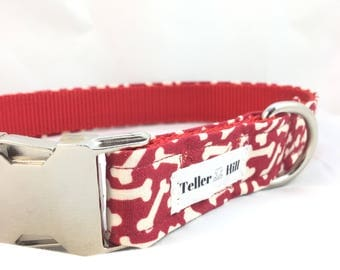 Classic Red Dog Bone Boy Dog Collar  - Cute Boy Dog Collar - Cotton Dog Collar - Modern Dog Collar - Girl Dog Collars - Dog Collar