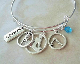 Namaste Yoga Charm Silver Plated Bangle Bracelet 7.5 Inches
