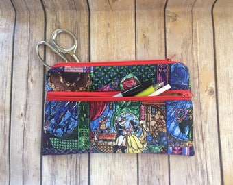 Stained Glass Beauty and The Beast inspired 2 Zip Pencil pouch