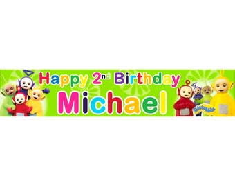 2 x Teletubbies Personalised Birthday Banner, custom, party,