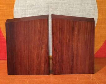 Vintage Pair of Rosewood Bookends, Danish Modern Bookends, Mid Century Modern Rosewood and Brass Bookends, Wood and Metal Danish Bookends