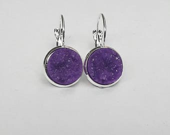 Purple Druzy French Lever Back Threader Earrings, Druzy Earrings, Druzy Jewelry, Purple Jewelry, Purple Earrings, Purple Gift for Her