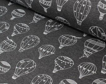 Brushed French Terry Hot Air Balloon Sweatshirt Fabric, Kids Fabric, Sweatshirt Fabric,Jumper Fabric, French Terry - Half Metre