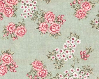 Au Maison oilcloth Isabella light green flower coated cotton