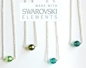 Swarovski Single Bead Necklace Sterling Silver Chain/Swarovski Elements Crystal Necklace Peridot/Olivine/Blue Zircon/Emerald/FREE SHIPPING