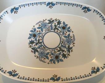 Vintage NORITAKE Progression China Japan Blue Moon Floral Platter Serving Tray