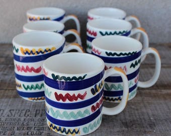 Vintage Hand Painted Gail Pittman Zig Zag Pattern Coffee Mugs - Set of 7