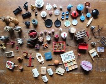 Vintage Lot of Miniatures Dollhouse Cookware Tableware Food Books Toys Etc