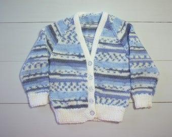 Baby cardigan. 9 month cardigan. Baby knitwear. Baby sweater. Baby jumper. Baby boy. Handknit baby sweater. Handknit cardigan. Baby clothes.