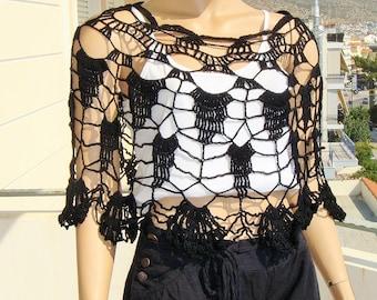 black poncho, lace poncho, black lace bolero, cotton poncho, summer bolero