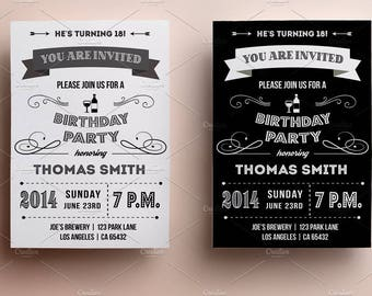 21st BIRTHDAY INVITATION, 18th birthday party invitation, template for birthday invitation, 18th Birthday Invitation