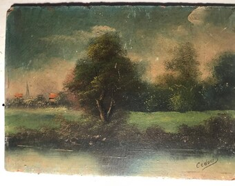 Riverscape and village in NorthernFrance (antique oil painting)