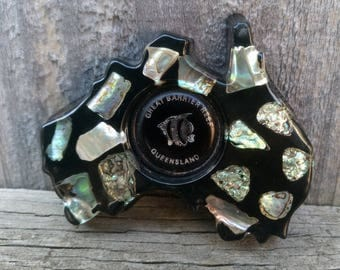 Crystal Craft Map of Australia Magnet with Abalone Shell Made in Queensland Australia