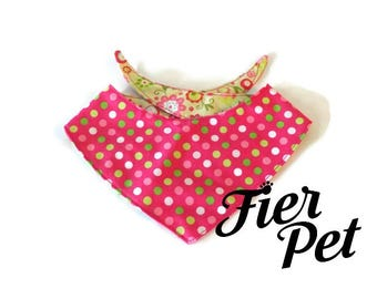 dog kierchief, dog bandana ,pink and flowers, reversible bandana