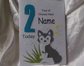 Personalised 1st, 2nd Any Age Wolf Cub Birthday Card Son, Grandson, Godson, Nephew etc.