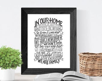 Hand Lettered Quote Wall Art, Art Print, Home Decor // In Our Home, We Are Family // House Rules