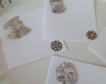 Set of 5 cards double Couture collection with cabochons